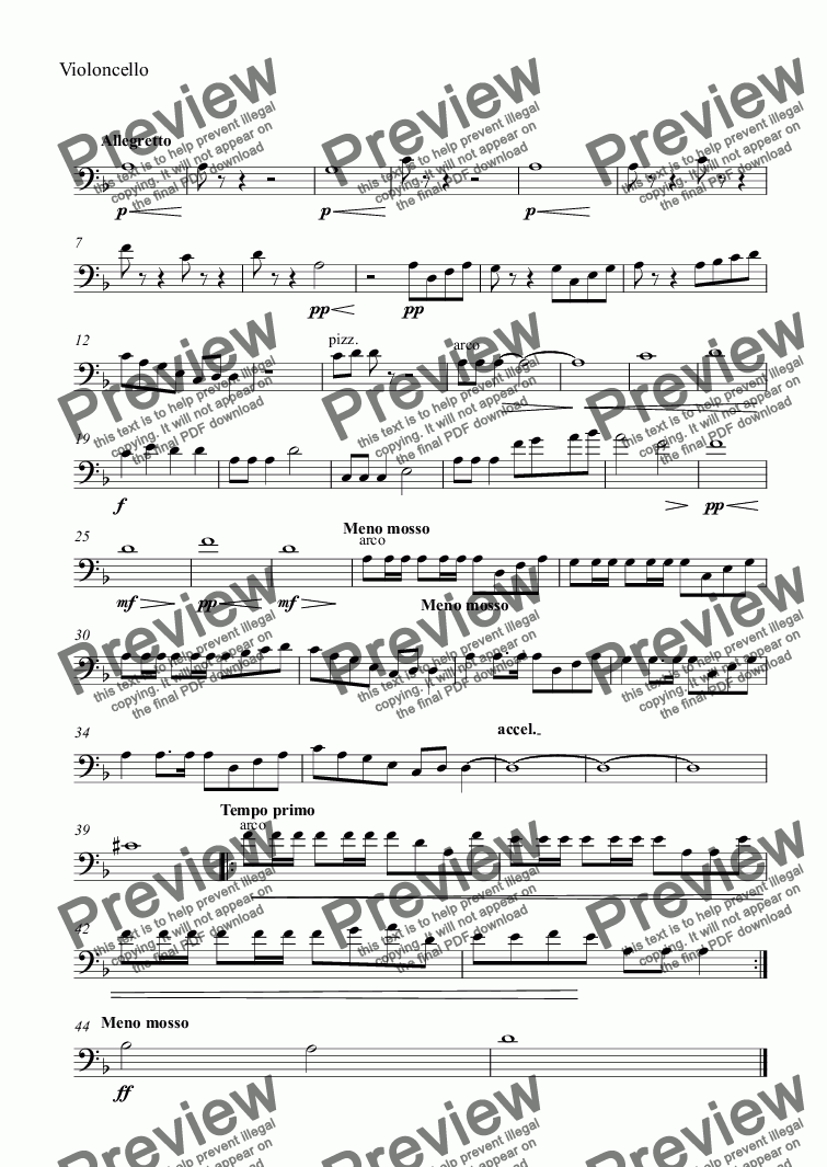 page one of the Violoncello part from What shall we do with the drunken sailor
