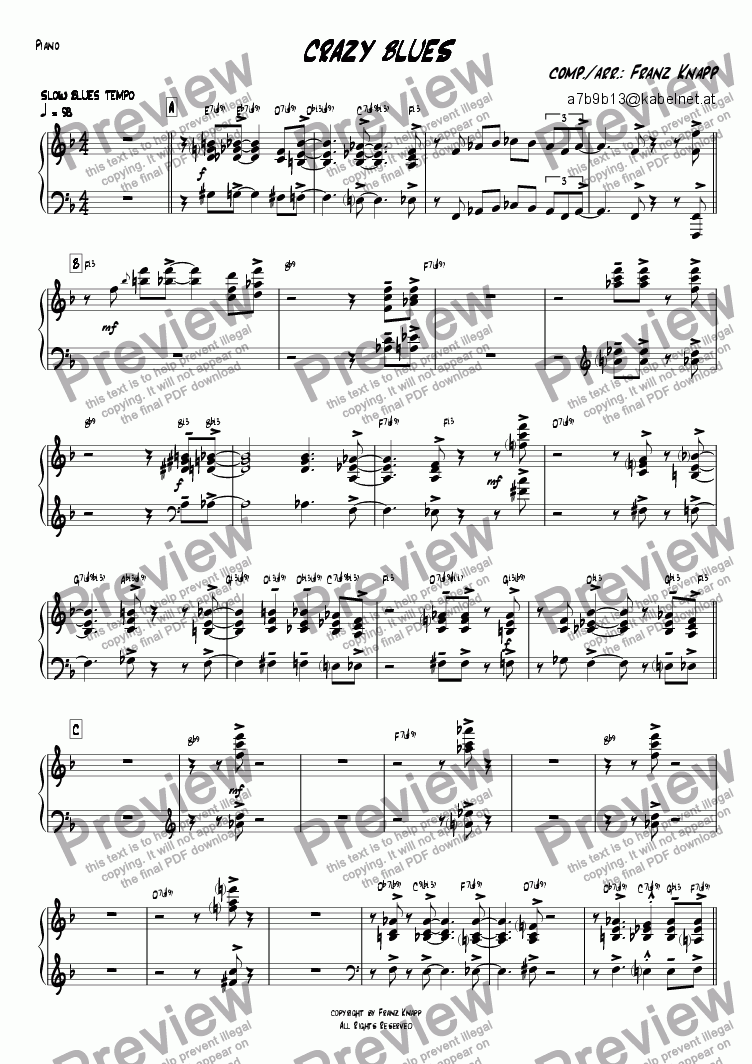 page one of the Piano part from Crazy Blues
