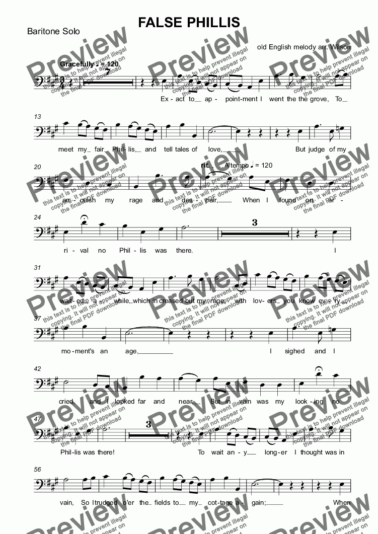 page one of the Baritone Solo part from FALSE PHILLIS