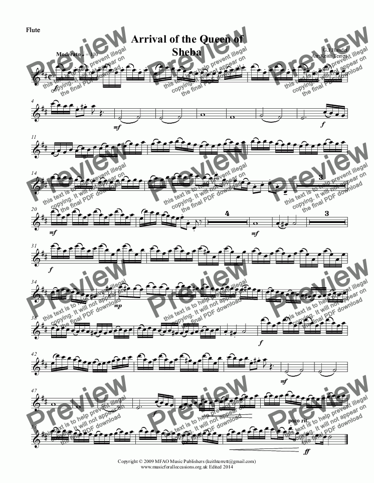 page one of the Flute part from Arrival of the Queen of Sheba for Wind Quintet
