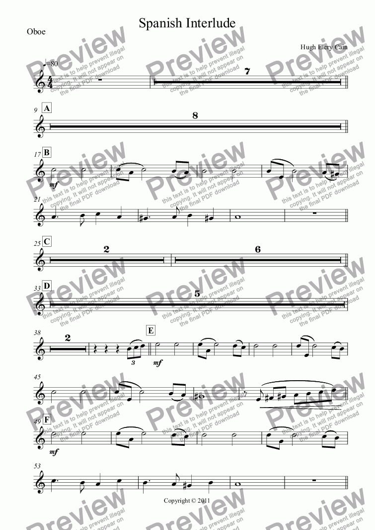 page one of the Oboe part from Spanish Interlude