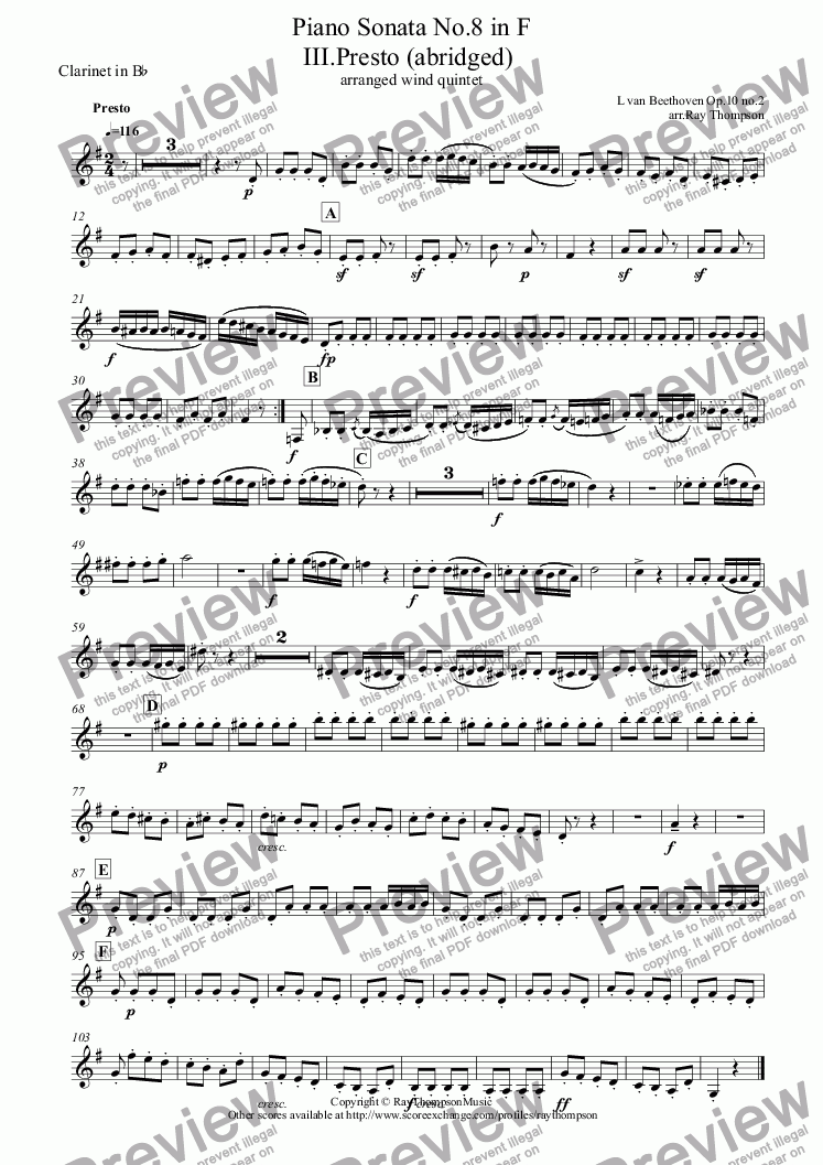 page one of the Clarinet in B^b part from Beethoven: Piano Sonata No.6 in F Op10 No.2: III.Presto (abridged) arranged wind quintet