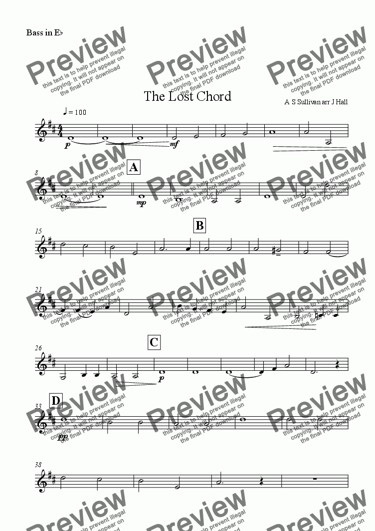 page one of the Eb Bass part from The Lost Chord
