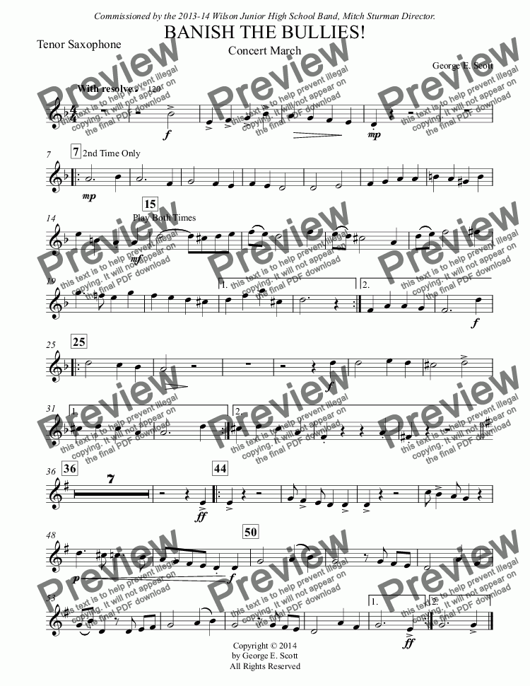 page one of the Tenor Saxophone part from BANISH THE BULLIES! (Grade 2 Concert Band)