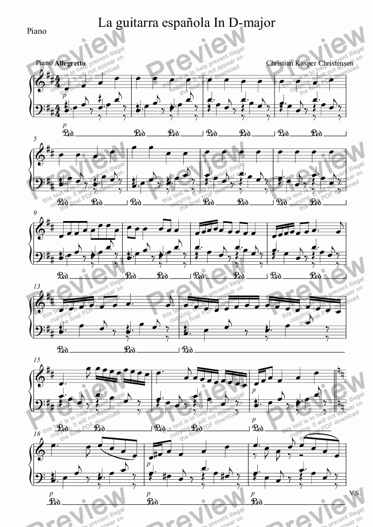 page one of the Piano part from La guitarra española In D-major