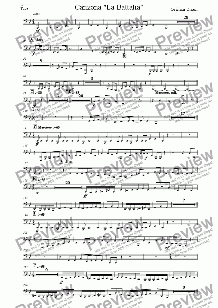 "page one of the Quintet 1 Tuba part from Canzona ""La Battalia"" for Three Brass Quintets"