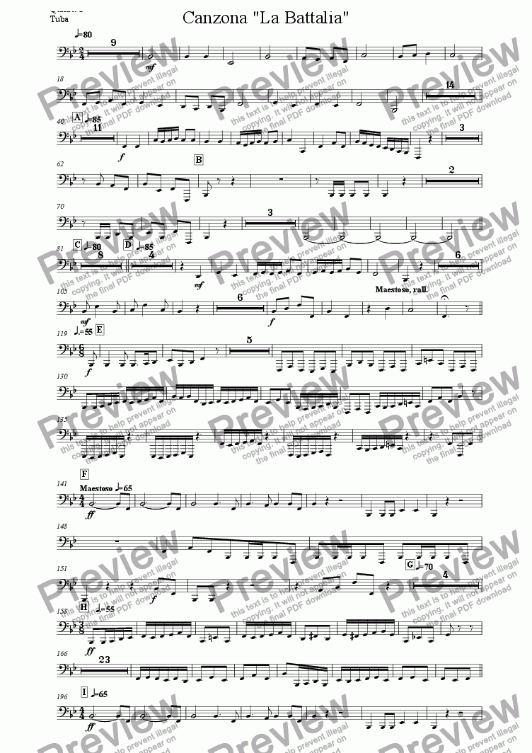 "page one of the Quintet 2 Tuba part from Canzona ""La Battalia"" for Three Brass Quintets"
