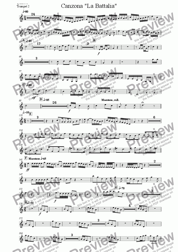 "page one of the Quintet 3 Trumpet 2 part from Canzona ""La Battalia"" for Three Brass Quintets"