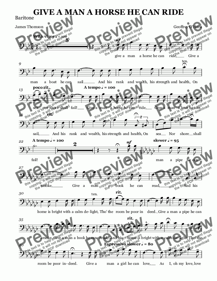 page one of the Baritone part from GIVE A MAN A HORSE HE CAN RIDE