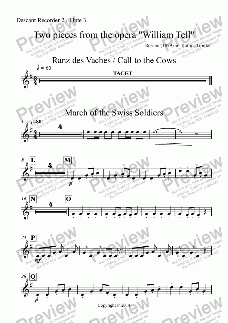 "page one of the Descant Recorder 2 / Flute 3 part from Two pieces from the opera ""William Tell"""