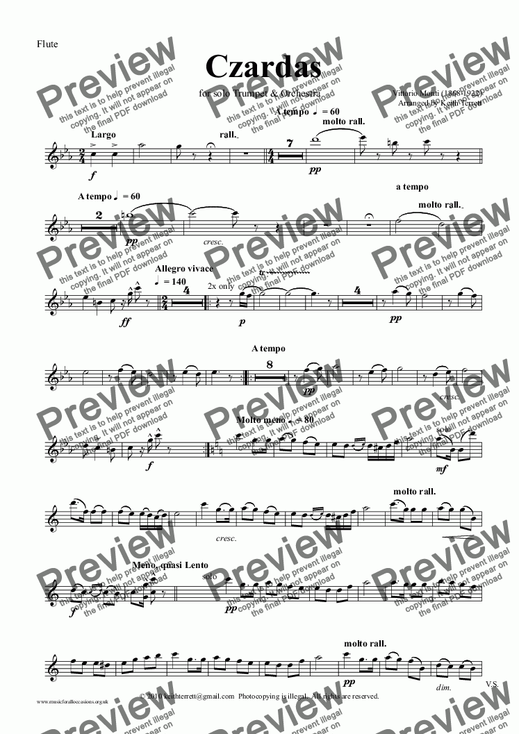 page one of the Flute part from Czardas for Trumpet & Symphony Orchestra