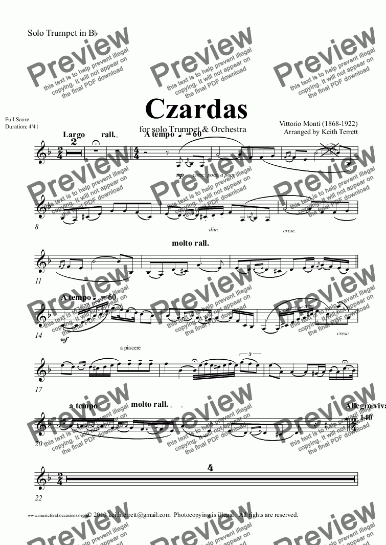 page one of the Solo Trumpet in B^b part from Czardas for Trumpet & Symphony Orchestra