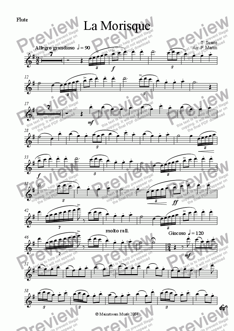 page one of the Flute part from La Morisque
