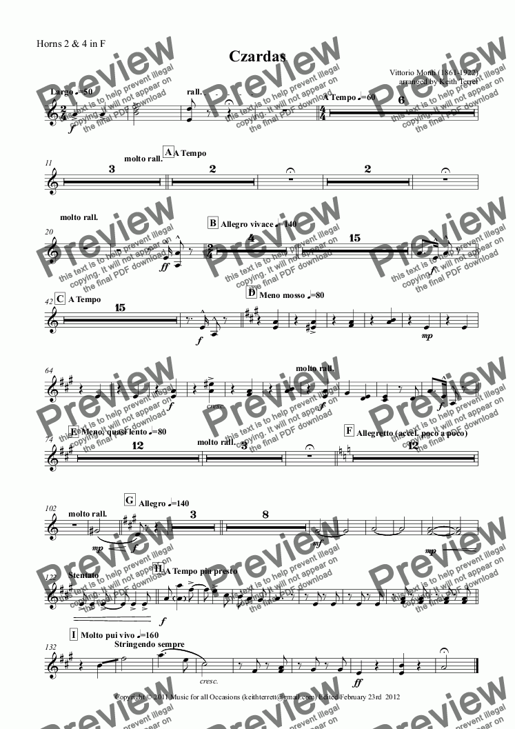 page one of the Horns 2 & 4 in F part from Czardas for Vibraphone, Xylophone, Marimba & Concert/Wind Band