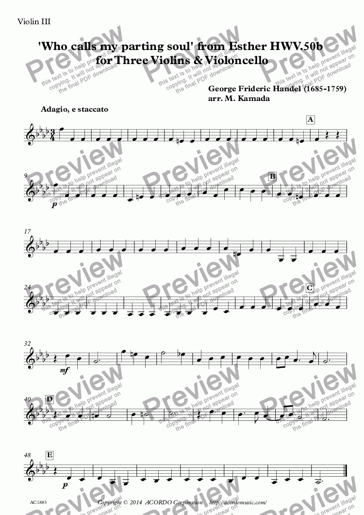 page one of the Violin III part from 'Who calls my parting soul' from Esther HWV.50b for Three Violins & Violoncello