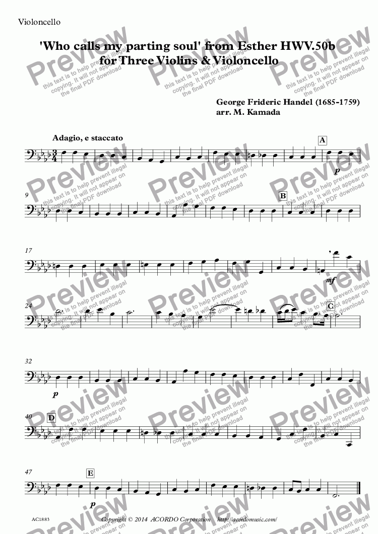 page one of the Violoncello part from 'Who calls my parting soul' from Esther HWV.50b for Three Violins & Violoncello