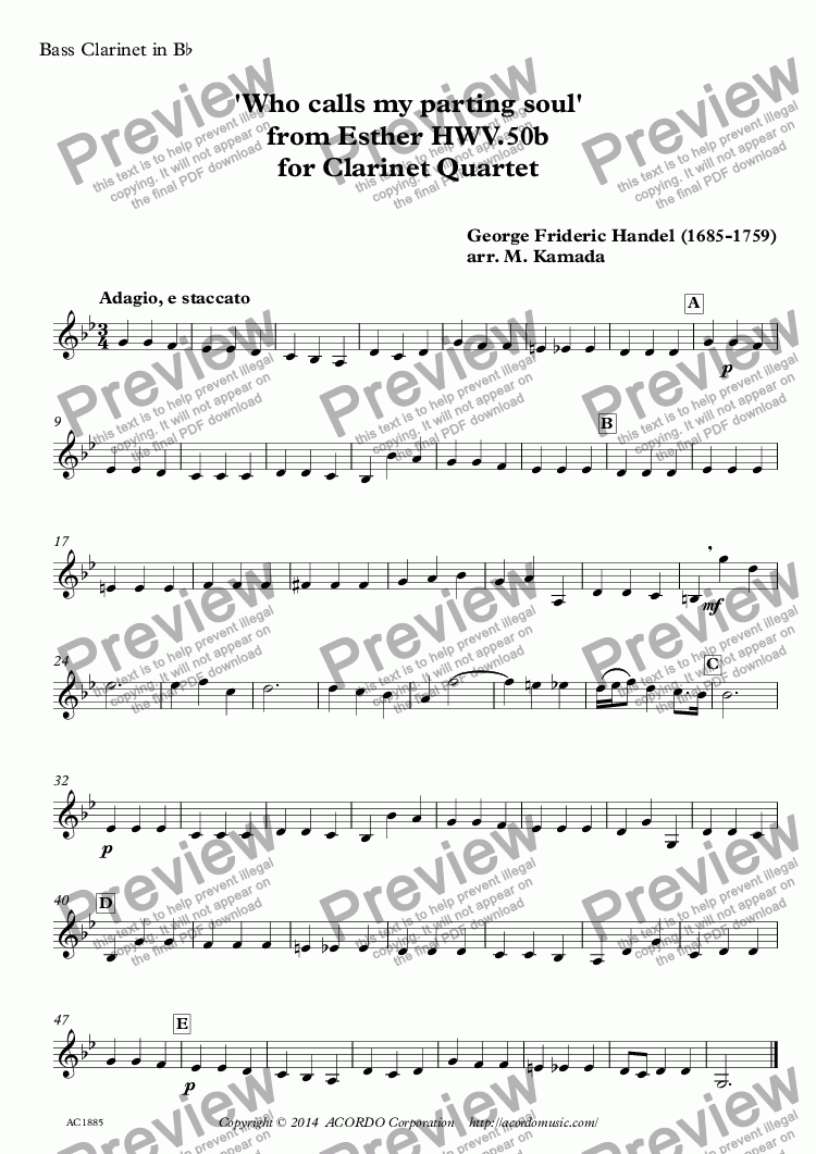 page one of the Bass Clarinet in Bb part from 'Who calls my parting soul' from Esther HWV.50b for Clarinet Quartet