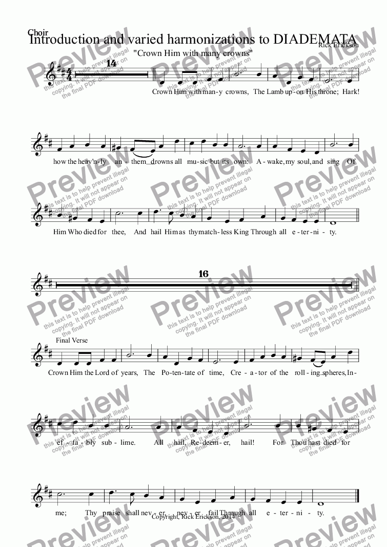 page one of the Choir part from Introduction and varied harmonizations to DIADEMATA