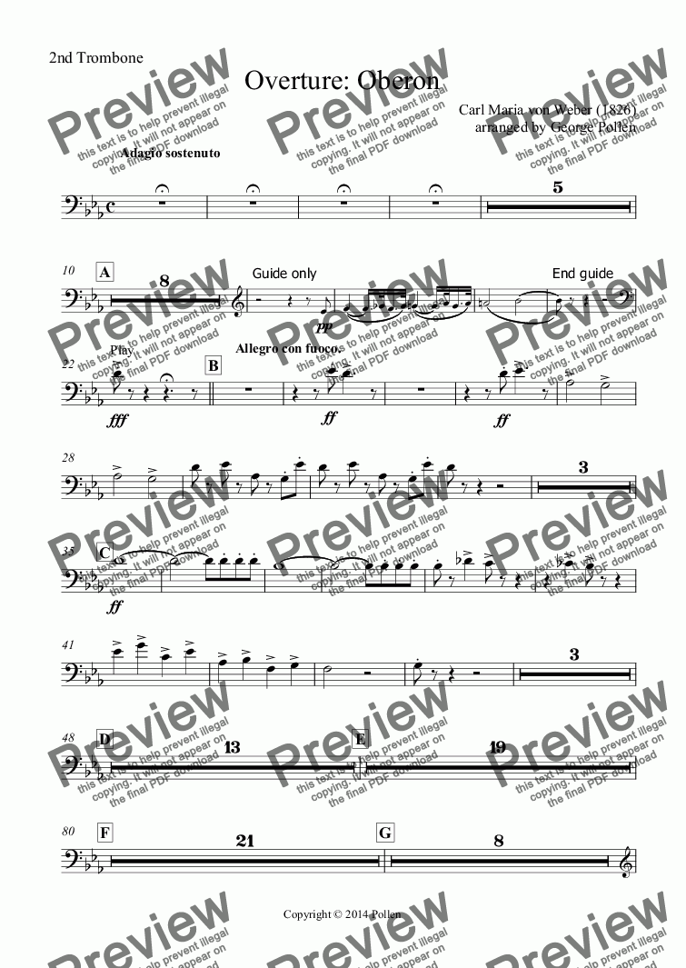 page one of the 2nd Trombone part from Overture: Oberon (CB)