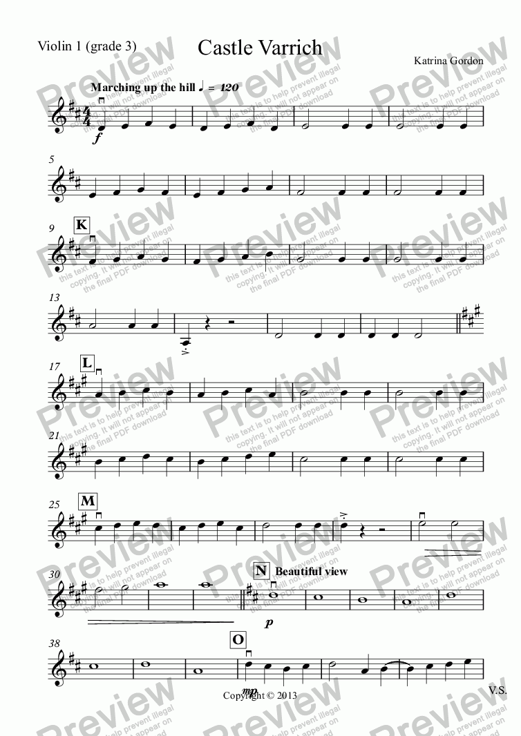 page one of the Violin 1 (grade 3) part from Castle Varrich