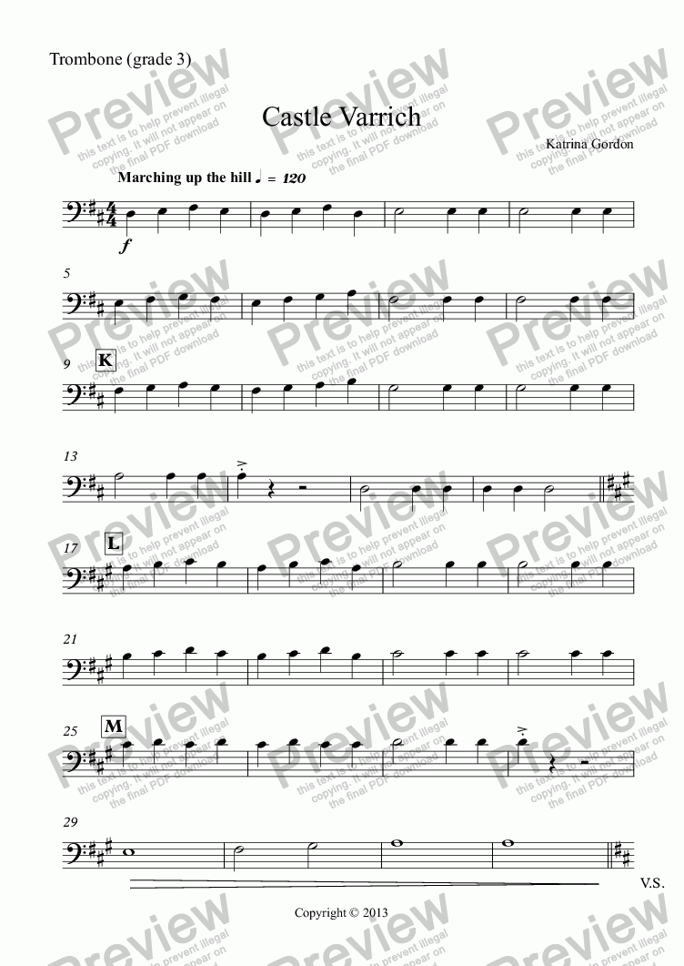 page one of the Trombone (grade 3) part from Castle Varrich