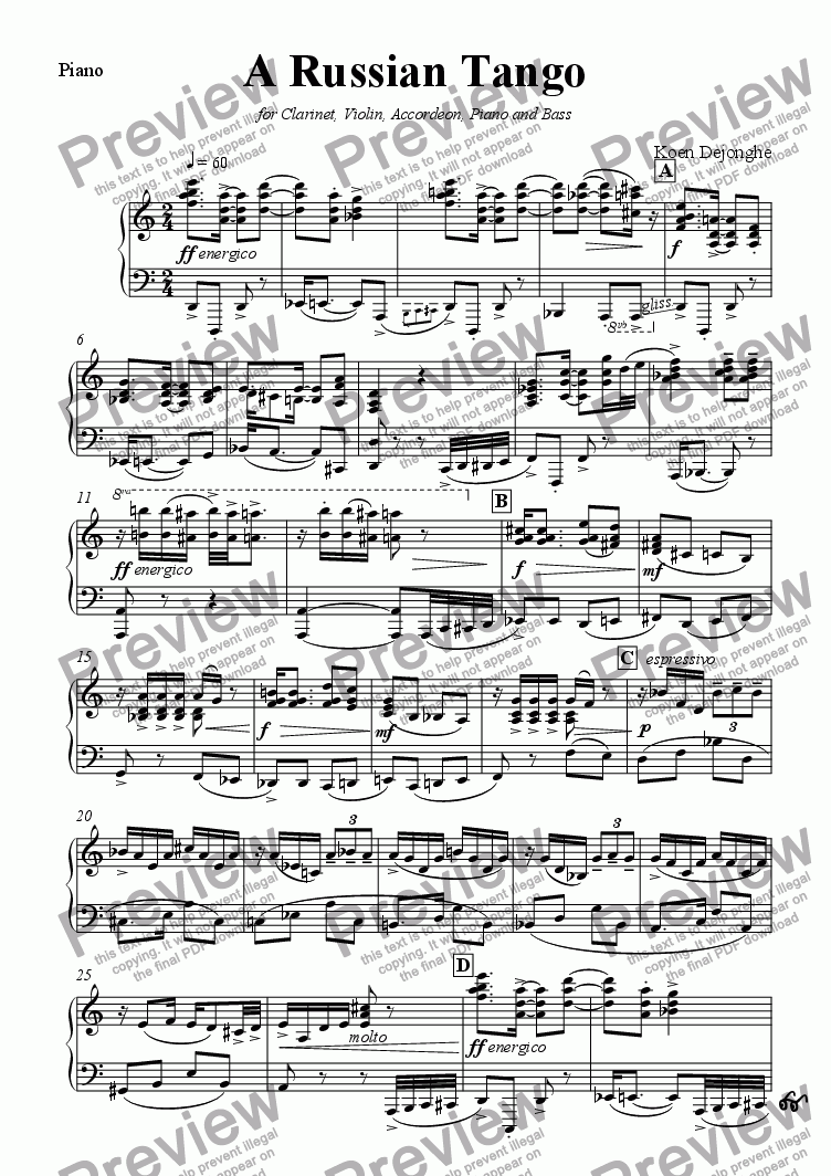 "page one of the Piano part from ""A Russian Tango"" for Clarinet,Violin,Accordion,Piano and Bass"