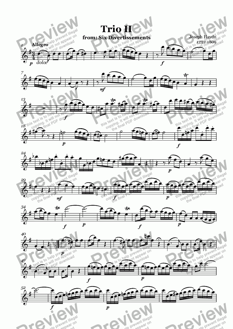 page one of the Alto Recorder part from Trio II (Haydn)
