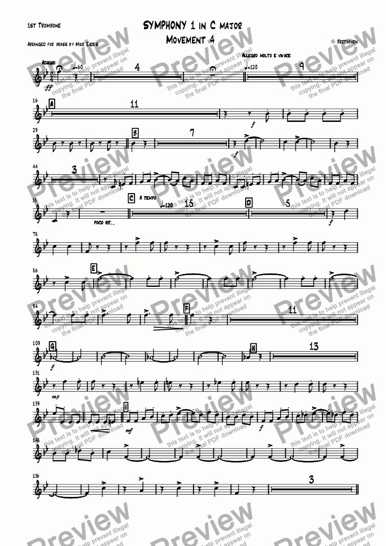 page one of the 1st Trombone part from Symphony 1 in C major Movement 4