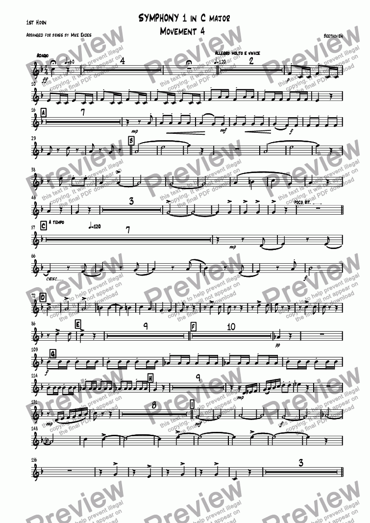 page one of the 1st Horn part from Symphony 1 in C major Movement 4