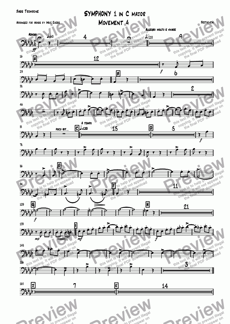 page one of the Bass Trombone part from Symphony 1 in C major Movement 4