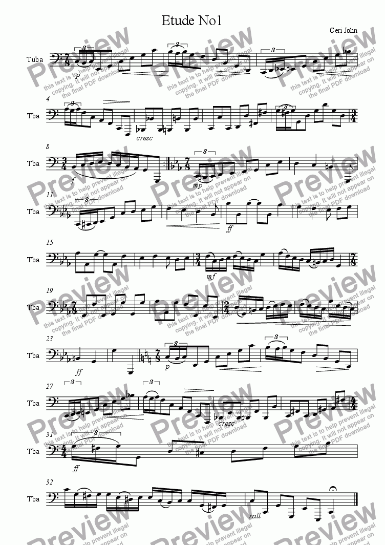 page one of the Tuba part from Tuba Etude No.1