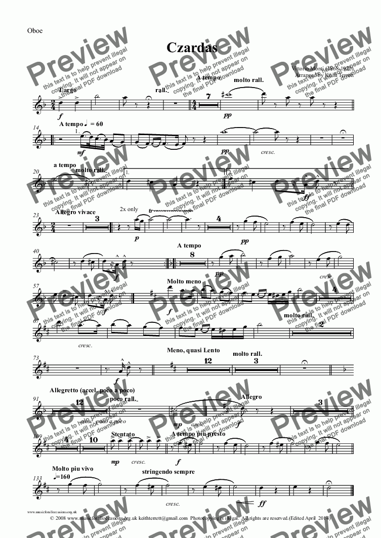 page one of the Oboe part from Czardas for Solo Violin & Symphony Orchestra
