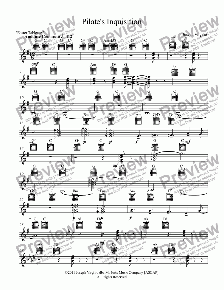 page one of the Electric Guitar part from :040 Opus: [09]. Pilate's Inquisition (from the cantata, Easter Tableaux)