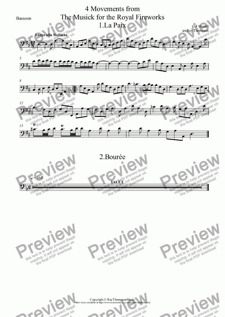 page one of the Bassoon part from Handel: 4 Movements from The Musick for the Royal Fireworks: La Paix, Bourée, La Réjouissance & Menuets I & II (Menuet and Trio) arranged wind quintet