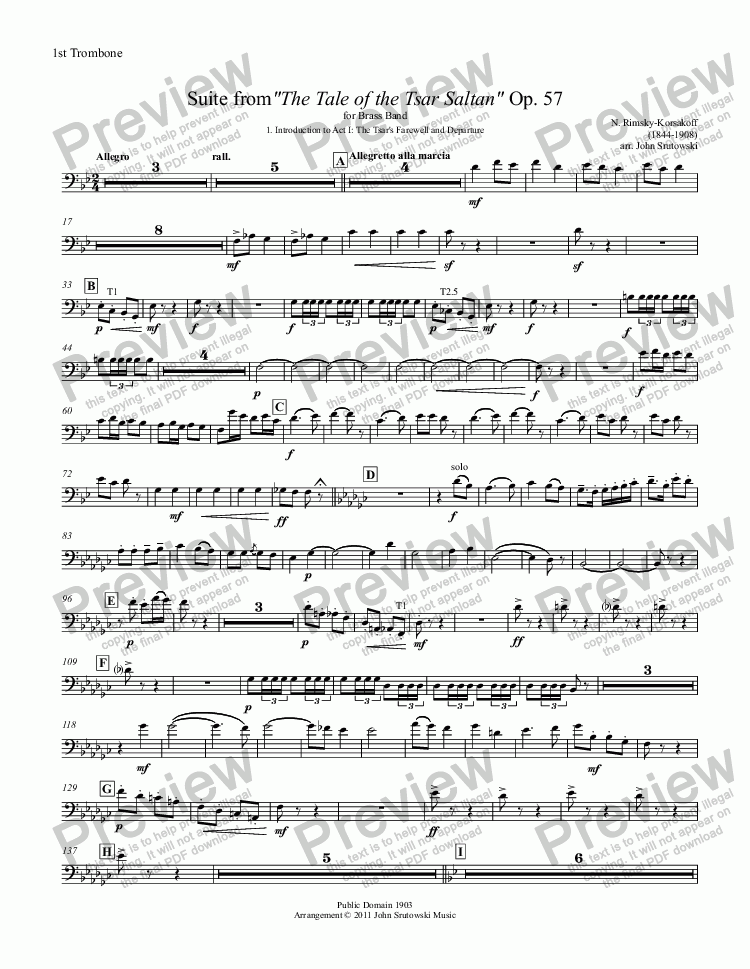 "page one of the 1st Trombone BC part from Suite from""The Tale of the Tsar Saltan"" Op. 57 for Brass Band"