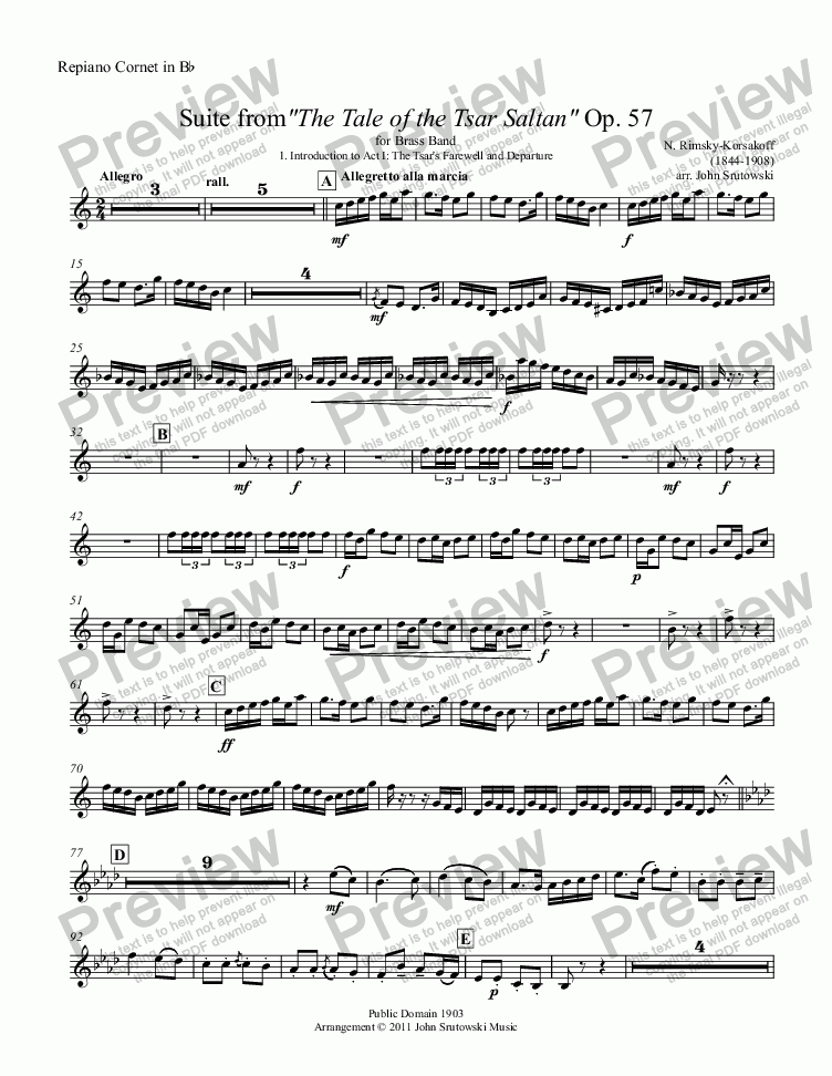 "page one of the Repiano Cornet in Bb part from Suite from""The Tale of the Tsar Saltan"" Op. 57 for Brass Band"