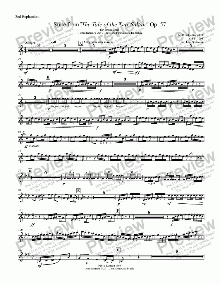 "page one of the 2nd Euphonium TC part from Suite from""The Tale of the Tsar Saltan"" Op. 57 for Brass Band"