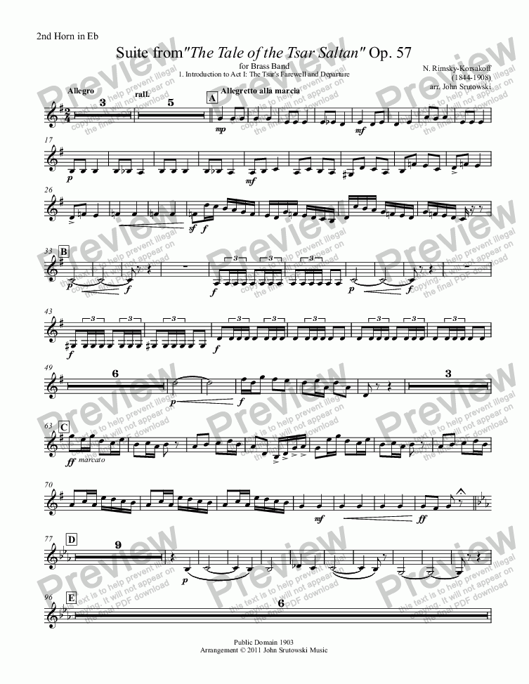 "page one of the 2nd Horn in Eb part from Suite from""The Tale of the Tsar Saltan"" Op. 57 for Brass Band"