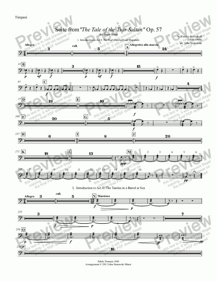 "page one of the Timpani part from Suite from""The Tale of the Tsar Saltan"" Op. 57 for Brass Band"
