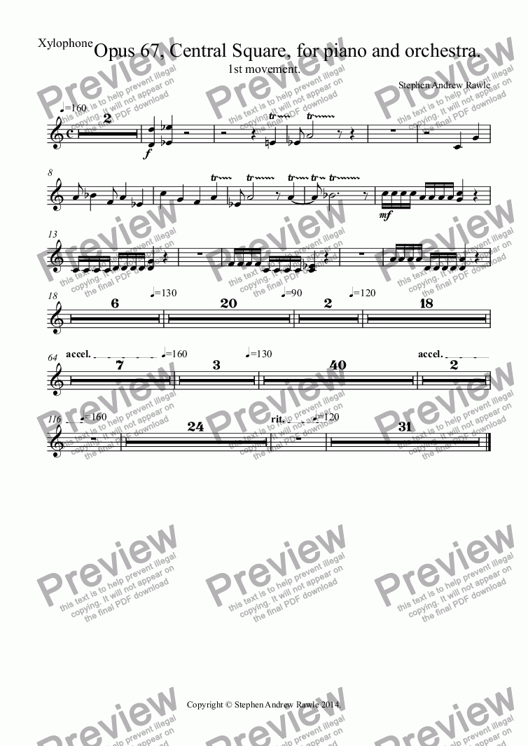 page one of the Xylophone part from Opus 67/1, Central Square, for piano and orchestra.