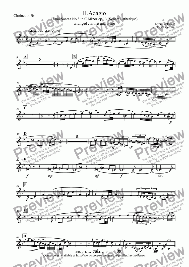 page one of the Clarinet in B^b part from Beethoven: Piano Sonata No 8 in C Minor op.13 (Sonata Pathetique) II.Adagio cantabile (arranged clarinet and piano)