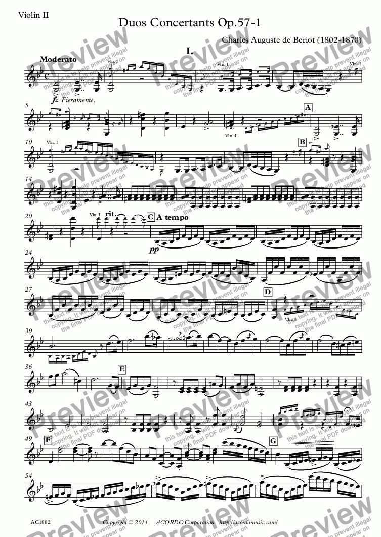 page one of the Violin II part from Duos Concertants Op.57-1