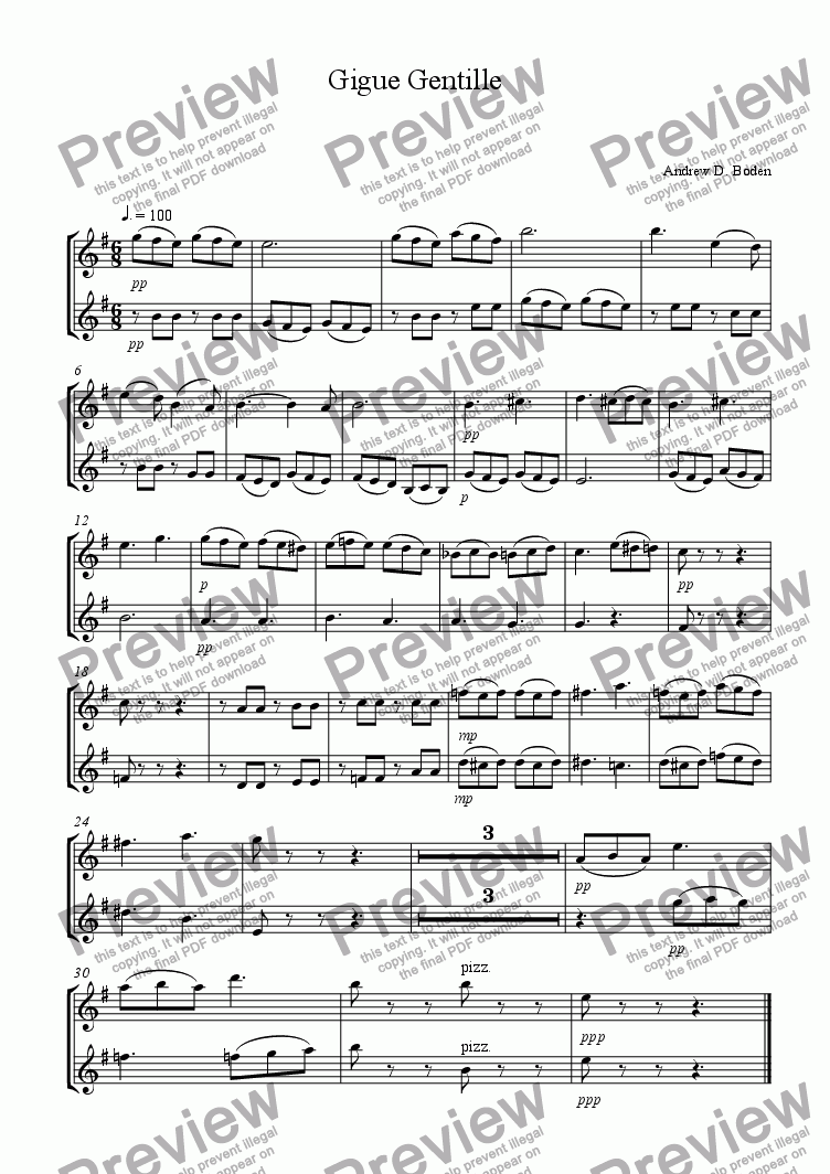 page one of the Violins part from Gigue Gentille for 2 violins & pianoforte