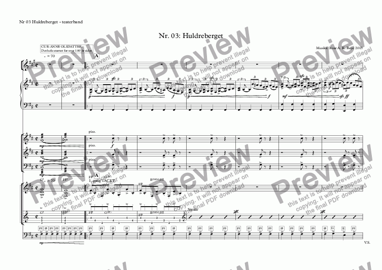 page one of the Nr 03 Huldreberget - teaterband part from Nr. 03: Huldreberget