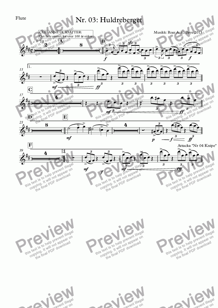 page one of the Flute part from Nr. 03: Huldreberget