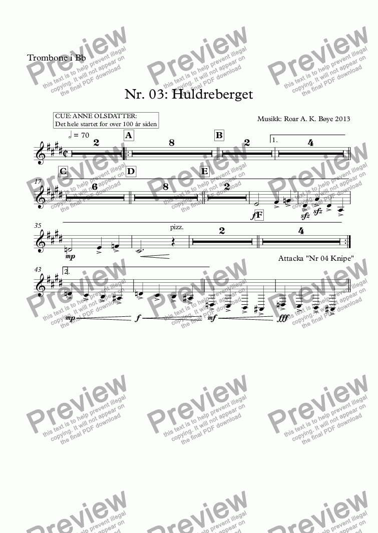 page one of the Trombone i Bb part from Nr. 03: Huldreberget