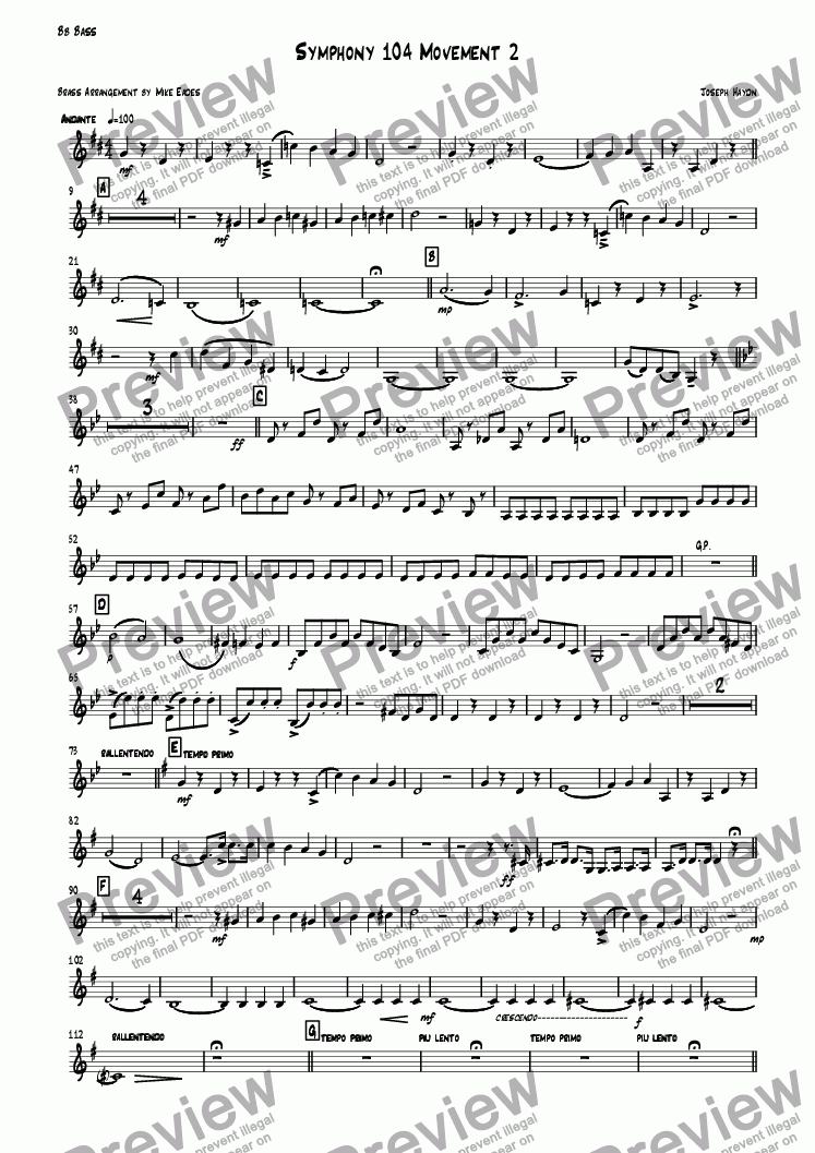 page one of the Bb Bass part from Symphony 104 Movement 2