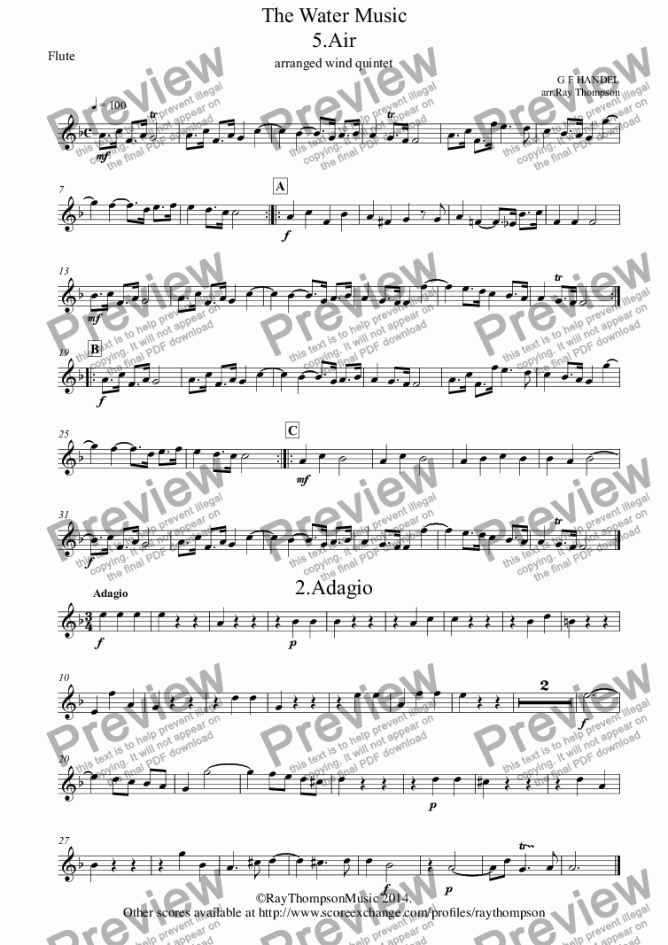 page one of the Flute part from Handel: 6 Movements from The Water Music: Air, Adagio, Bourée, Menuet for French Horn, Menuet (Flute Suite) & Hornpipe. Arranged Wind Quintet