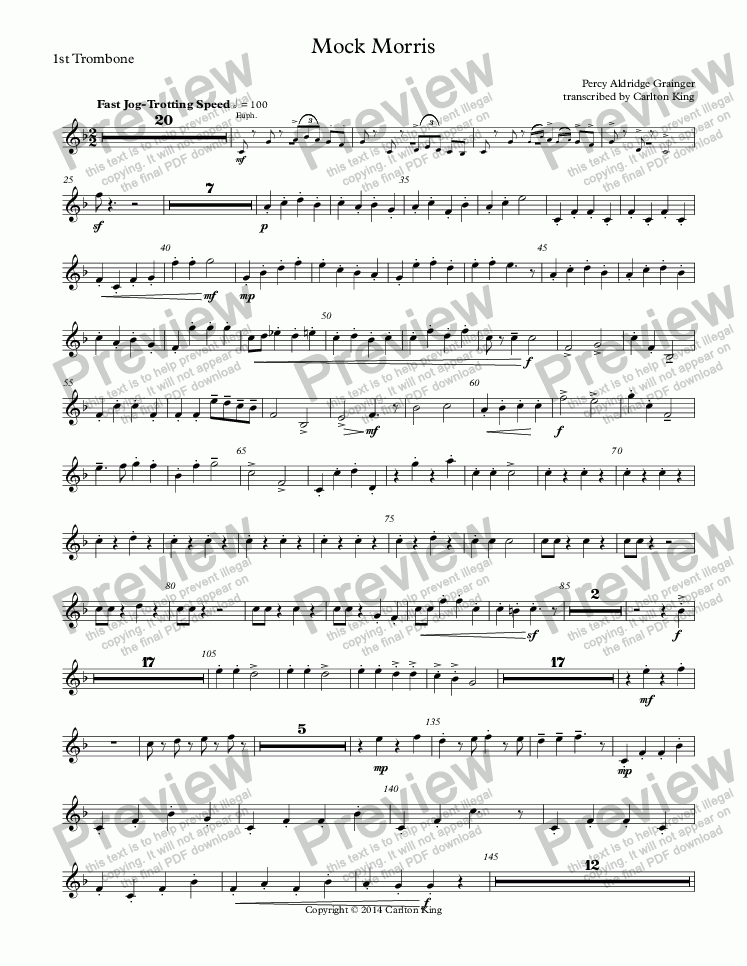 page one of the 1st Trombone part from Mock Morris