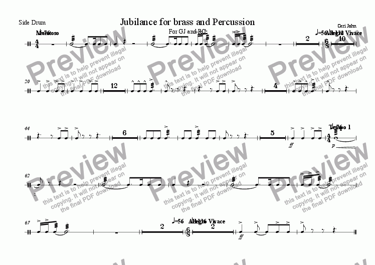 page one of the side drum part from Jubilance for Brass and Percussion